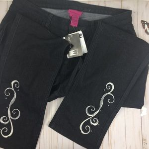 NWT Vintage Size 16 Embroidered Skinny Jeans